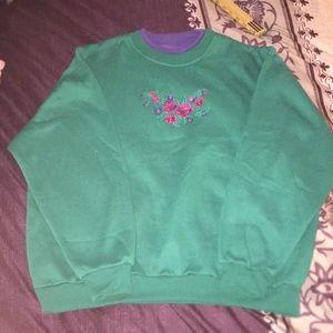 Winter American Weekend Green Floral Sweat Shirt